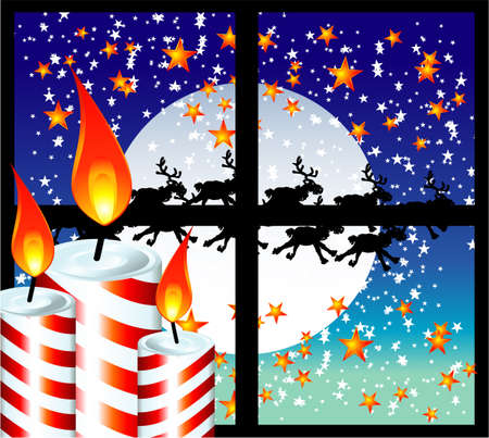 christmastide: Christmas Candle Moon Light Window Background