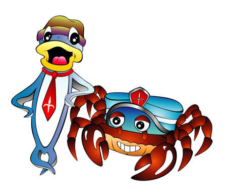 Fish and Crab with dress cartoon style Vector