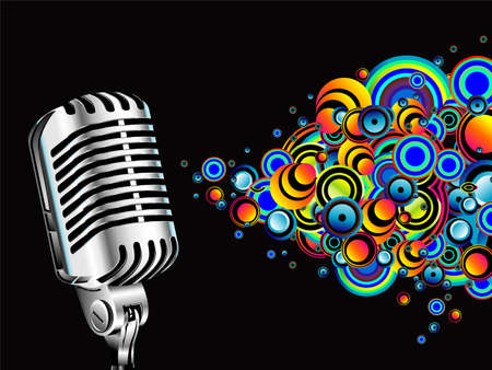 A magic microphone singing colorful bubbles