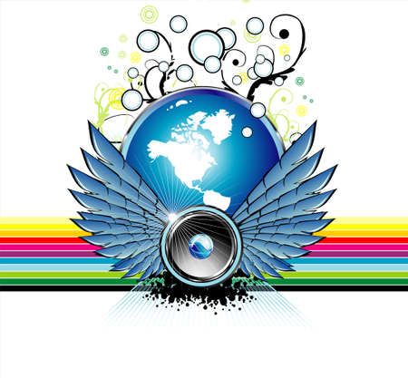 Fantasie luidspreker vliegen met een wereld bol en de Regenboog achtergrond