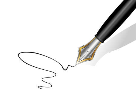 writing paper: An elegant gold and iron fountain pen writing on white paper