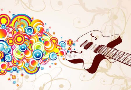Colorful retro guitar singing bubbles background Vector