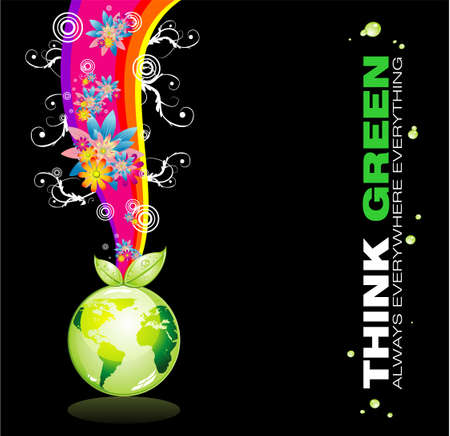 Abstract Think Green Planet Background Stock Vector - 4897259