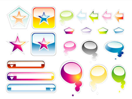 Set of full colours web elements with glossy effect Vector