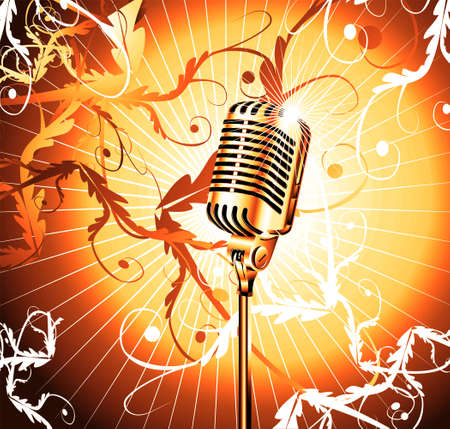 Chromed microphone for singer with abstract background       photo