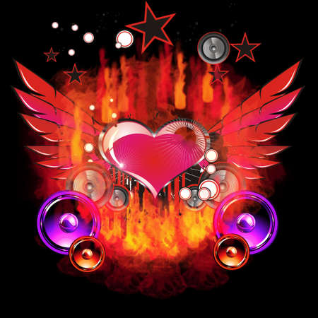 Glossy Heart with burning hot flames and music elements