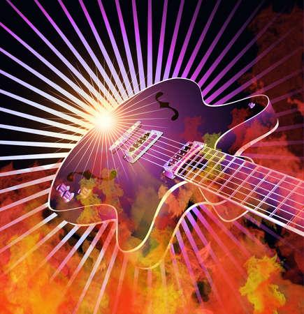 Retro guitare brûlant dans les flammes vrai Banque d'images