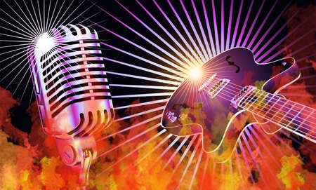 Retro guitar and microphone burning in true flames Stock Photo