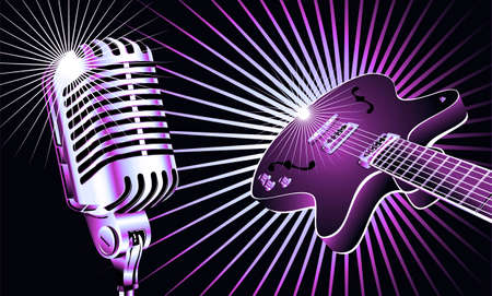 Retro microphone and guitar music background photo