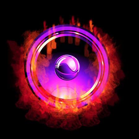A burning hot music speaker photo