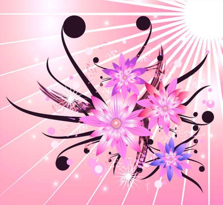 Abstract colorful Background with flower elements photo