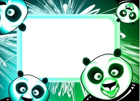 Cartoon Style Panda Frame background with abstract design elements photo