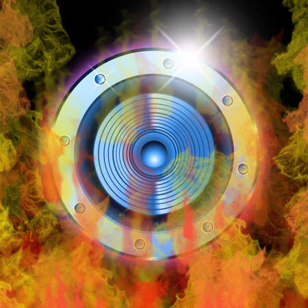 True fire and a music speaker background Stock Photo - 4917073