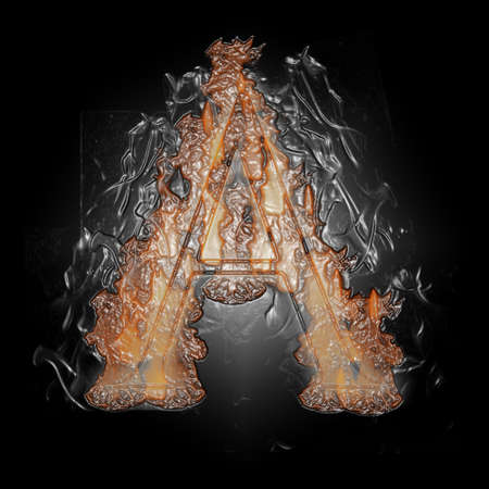 Plastic Burning Letter with true flames and smoke - Banque d'images