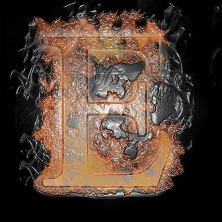 Plastic Burning Letter with true flames and smoke - photo