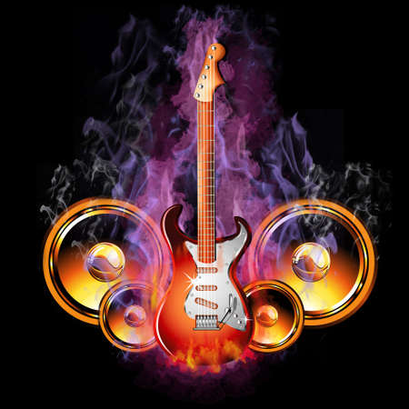 rock guitar: Colorful Hot Burining Electric Guitar with speakers Stock Photo
