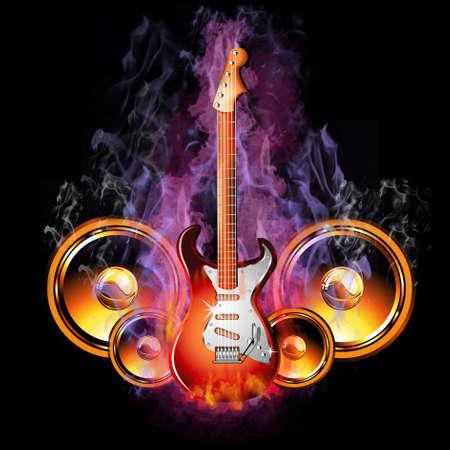 Kleurrijke Hot Burining Electric Guitar met luidsprekers
