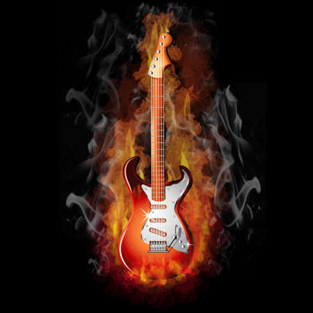 Hot Fire on a Red Electric Guitar - Music Series Stock Photo - 4953684