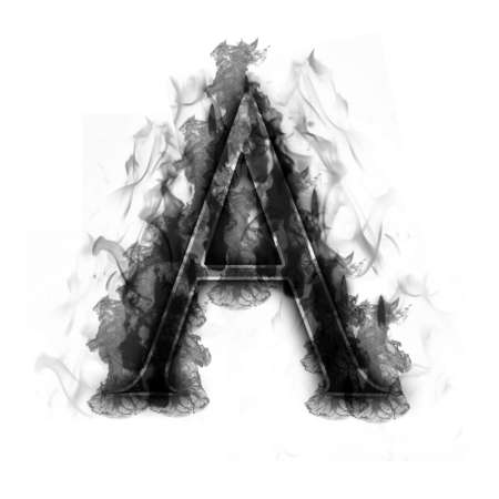 fiery font: Burning Letter with true flames and smoke - other letters in my portfolio