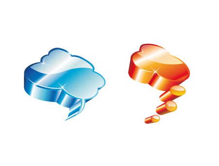 Blue and Orange High detailed Glossy Clouds Icons Vector
