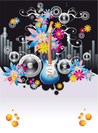 Summer Disco Music Night Event Background with flowers motive Vector