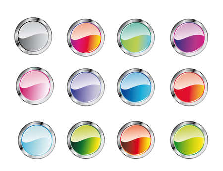 Collection of colorful Glossy Buttons Vector