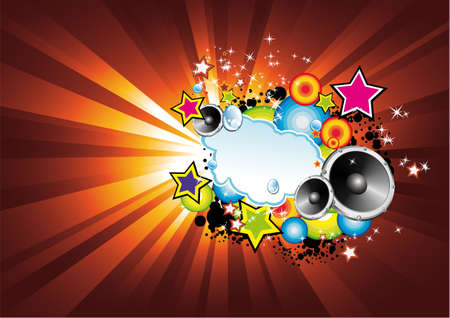 funky music: Background with an Explosion of Colors with music design elements Illustration