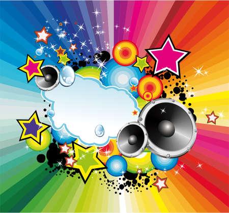 Achtergrond met een explosie van kleuren met elementen muziek ontwerp