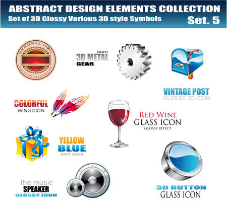3D and 2D Various Design Elements Collection - Set 5 Vector