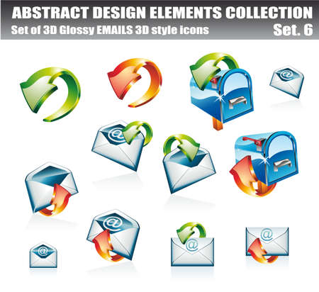 3D and 2D Email Design Elements Collection - Set 6 Vector