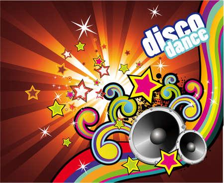 music design: De fondo con una explosi�n de colores de la m�sica con elementos de dise�o Vectores