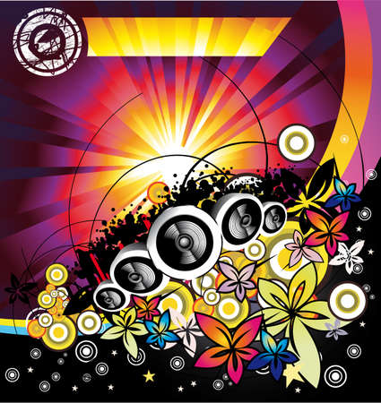 dance music: Disco Music Summertime event background Illustration
