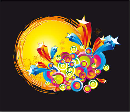 Abstract Fantasy Colorful Stars and sun circles Background Stock Vector - 5065974