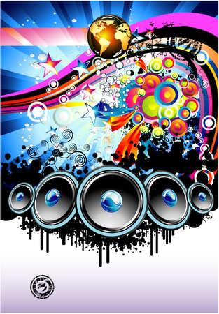 resonancia: Disco Music Event Resumen de antecedentes coloridos con elementos Vectores