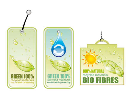 Green Recycle and Bio tag icons - set 4 Vector