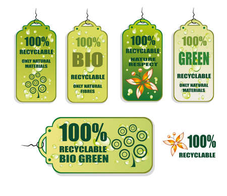 Green Recycle and Bio tag icons - set 3 Vector