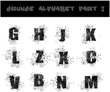 urban style: Grunge Black Alphabet Dirty Urban Style - Part 2 Illustration