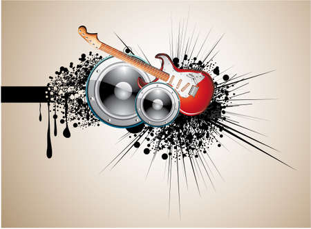 dance music: Grunge Music Background with speaker and electric guitar