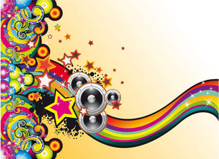 modern rock: Dance and Music Background with Coloorful Rainbow and Stars Illustration