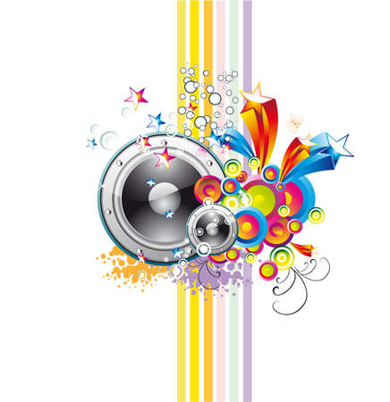 acoustics: Disco Music Event Background with colorful Abstract elements