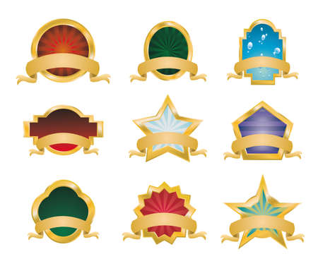 Collection of Vintage Gold Emblems - Set 1 Vector