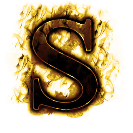 wildfire: Burning Letter with true flames and smoke Stock Photo