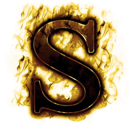 ardent: Lettera Burning con fiamme e fumo vero Archivio Fotografico