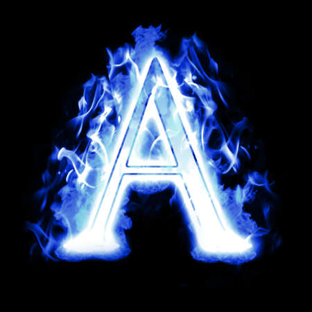 flamboyant: Burning Letter with Cold Blue flames - Ice Flame Alphabet