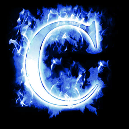 fiery font: Burning Letter with Cold Blue flames - Ice Flame Alphabet