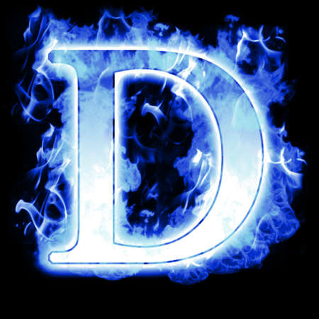 igniting: Burning Letter with Cold Blue flames - Ice Flame Alphabet