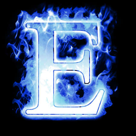 fire font: Burning Letter with Cold Blue flames - Ice Flame Alphabet