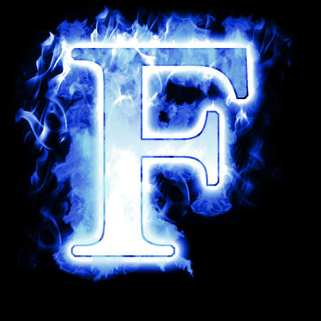 flame alphabet: Burning Letter with Cold Blue flames - Ice Flame Alphabet