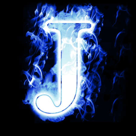 blue flames: Burning Letter with Cold Blue flames - Ice Flame Alphabet