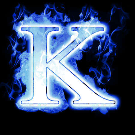 ice font: Burning Letter with Cold Blue flames - Ice Flame Alphabet